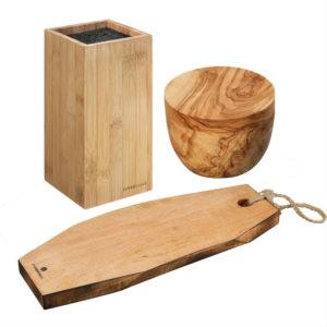 drewno bambusowe, oliwne i mango